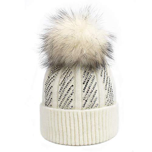 Winter Knitted Skull Cap Rhinestones Diamond Hat Fur Dyeing Pompoms Warm Hat