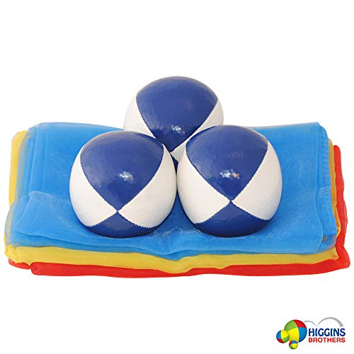 Higgins Brothers Kids Juggling Kit with Scarves and 2 inch Juggling Balls (Blue)