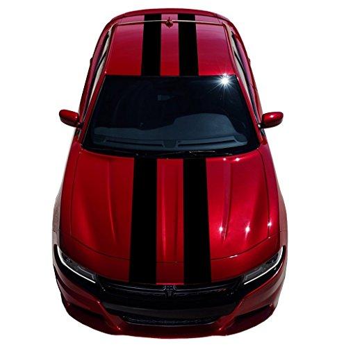 9 Inch Double Center Vinyl Racing Stripes, Fits Dodge Charger, Black Matte
