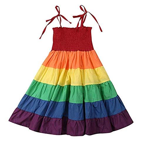 Toddler Baby Girl Rainbow Dress Strap Sleeveless Beach Boho Sundress Halter Elastic Twirl Dress (6-7 Years, Colorful)
