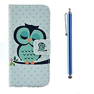 WQQ Owl Pattern PU Full Body Case with Card Slot and Stand for iPhone 5/5S