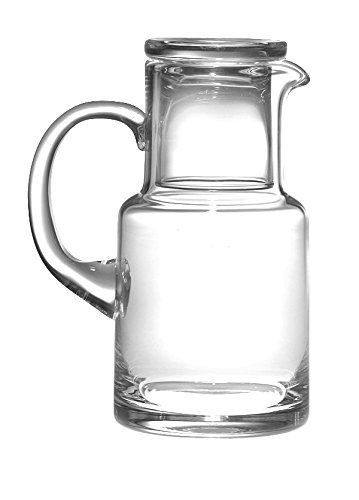 Barski - European Quality Glass - 2 Piece Water Set -Bedside Night Water Carafe / Desktop Water Carafe - With Handle - With Tumbler - Carafe is 20 oz. - Made in Europe (Bedside Glass And Pitcher)