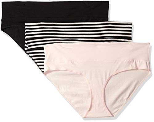 Motherhood Maternity Women's Maternity 3 Fold Over Brief Panties, Black/Pink Stripe Multi Pack, -