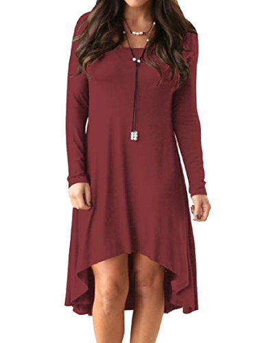Hem Comfy Red Colored Dress Long Sleeve Unbalanced Solid Shirt Wine T Womens rPrqTxY