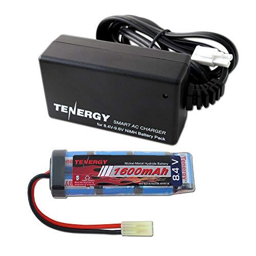 Tenergy Combo 8.4V 1600mAh Flat NiMH Airsoft Battery Pack+ 8.4V-9.6V NiMH Smart Charger