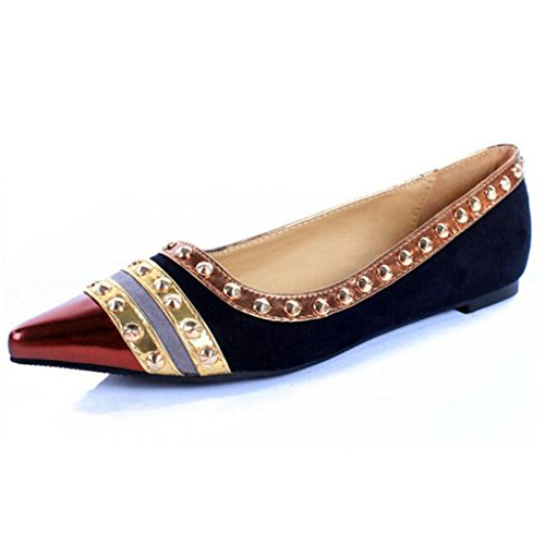 Pumps Suede Flat Pointed Women's Rivet Binying C4wOHO