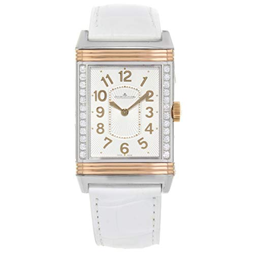 - Jaeger LeCoultre Grande Reverso Ultra Thin Silver Dial 18kt Rose Gold White Leather Ladies Watch Q3224420