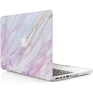 iDOO Matte Rubber Coated Soft Touch Plastic Hard Case for MacBook Pro 15 inch Retina without CD Drive Model A1398 -Pink Marble