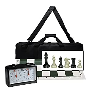 Complete Tournament Chess Set with Deluxe Canvas Bag and Chess Clock - 4 King Triple Weighted