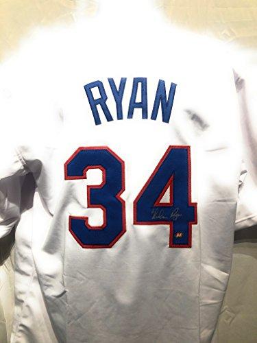 (Nolan Ryan Texas Rangers Signed Autograph White Custom Jersey Nolan Ryan Hologram Certified )