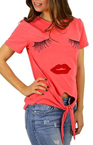 Wool Satin Sheath Dress (Anmengte Women Cute T Shirt Irregular Top Short Sleeves (M,)