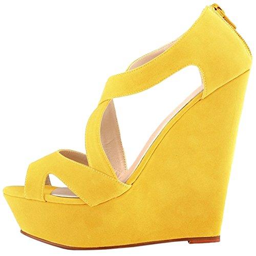 HooH Women's High Heel Wedge Platform Sandals Ankle Strap Pumps Yellow