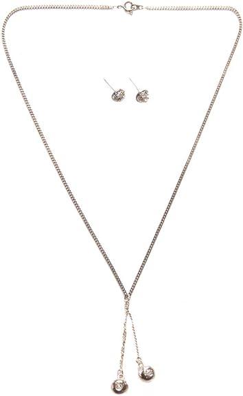 2 multi- Pack doble collar con colgante de bola de diamantes ...