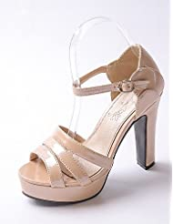 Women's Shoes Chunky Heel Heels / Peep Toe / Platform Heels Party & Evening / Dress / Casual Green / Silver / Almond