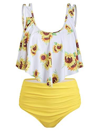 (CHARMMA Rosegal Women's High Waist Sunflower Striped Ruched Two Piece Tankini Bikini Set (Yellow, 2XL))