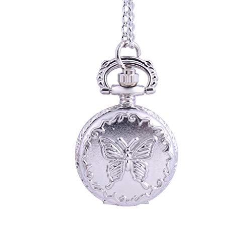 Orcbee  _Butterfly Pocket Watch Vintage Snowflake Love Hollow Pocket Watch Gift (#5)
