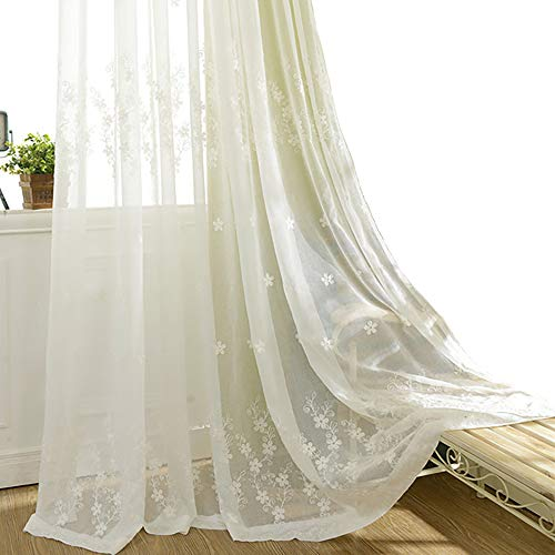 VOGOL Semi-Sheer Elegant Embroidered Solid White Rod Pocket Window Sheer Curtains/Drape/Panels/Treatment 60 x 96,Two Panels (Curtain Lace Cotton)