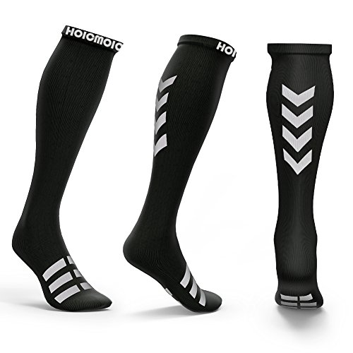 Hoicmoic Compression Socks for Men & Women, 20-30mmHg Graduated Athletic Sports Socks Fit for Running, Nurses, Shin Splints, Flight Travel, Maternity Pregnancy-Boost Stamina, Circulation - System Convection Cooling