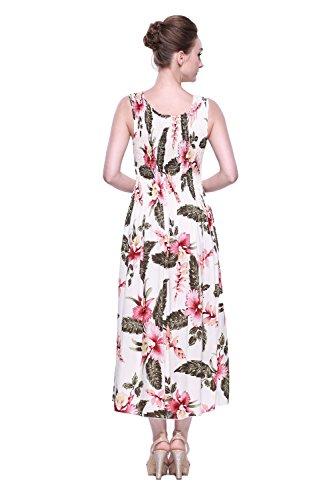 Hawaiano Vestido Luau vestido Maxi largo tanque elástico vestido en Crema Rafelsia