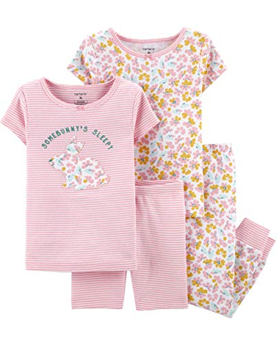 Carter's Toddler and Baby Girls' 4 Piece Cotton Pajama Set, Bunny, 2T