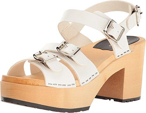 Sueco Hasbeens Sandalia De Tacón Hebilla Para Mujer Blanco