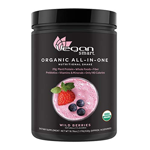 Vegansmart Plant Based Organic Protein Powder by Naturade, All-in-One Nutritional Shake - Wild Berries 18.76 oz (Best Protein Powder With Water)