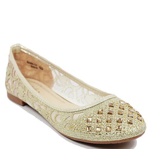 - Walstar Women Casual Rhinestone Glitter Mesh Slip On Ballet Flat Lightweigh Gold