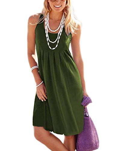 - Traleubie Women's Casual Summer Tank Sleeveless Knee Length Vest Pleated Sun Dresses Army Green M