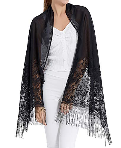Women's Floral Lace Mesh Party Prom Wedding Shawl Scarf with -