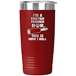 Funny Tibetan Terrier Gifts Tumbler Travel Mug Cup Dog Mom Owner Lover Mama Birthday Present Idea K-82N (20oz, Red) 9
