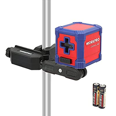 WORKPRO Self-Leveling Cross Line Laser with Clamp 30 Feet