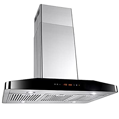"AKDY New 36"" European Style Island Mount Stainless Steel Range Hood Vent Touch Control"