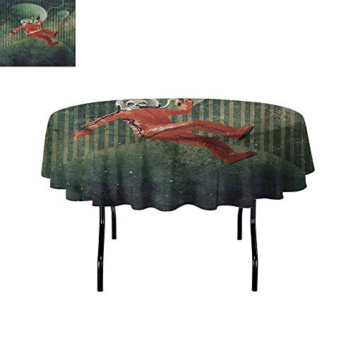 Curioly Fantasy Waterproof Anti-Wrinkle no Pollution Strange Alien in Spaceman Suit Floating in Outer Space Grunge Artwork Print Round Tablecloth D43.3 Inch Vermilion Green
