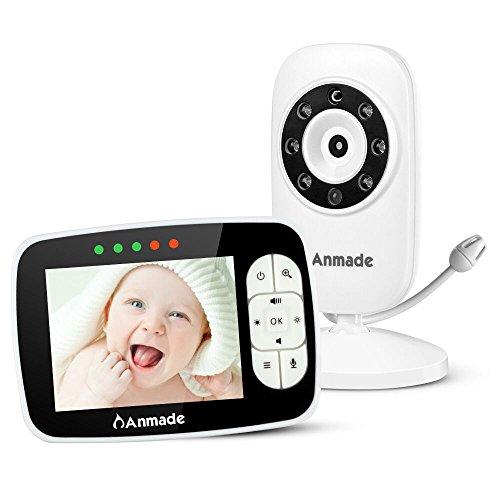 Video Baby Monitor, Anmade Baby Monitor Camera 2 Way Talkback 3.5inch LCD Screen Night Vision Temperature Sensor Lullabies ECO Mode Long Range Monitoring