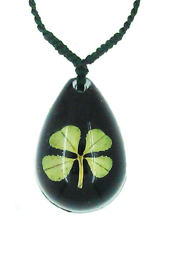 Real Clover (Celtic Lucky Real 4 Four Leaf Clover Good Luck Black Pendant Necklace with Gift Box & Guarantee)