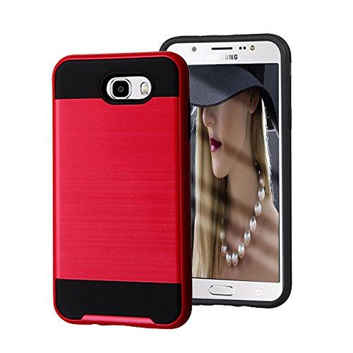 Slim Fit Hybrid Case for Samsung J7 (Grey/Red) - 4