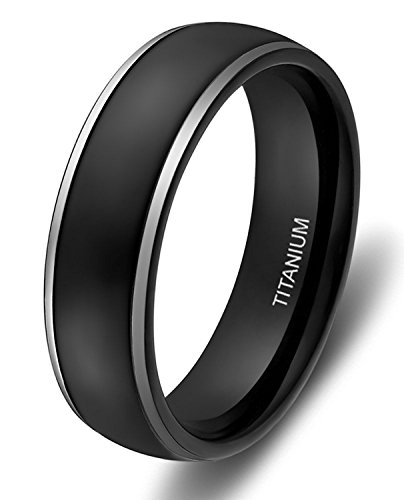 6mm Titanium Rings for Men Women Black Dome Two Tone Polish Wedding Band (Dome Titanium Band)