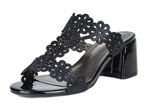 DREAM PAIRS Women's Duchess_02 Black Fashion Block Slides Heeled Sandals Size 9.5 B(M) - Heel Women Rubber Sole