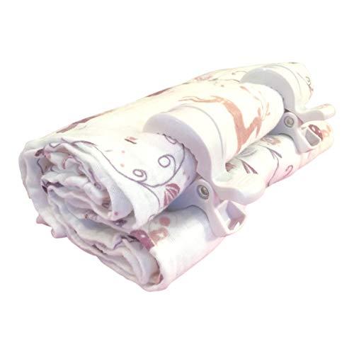 Baby Reindeer-100% Cotton Baby Blanket + 2 Stroller Clips.