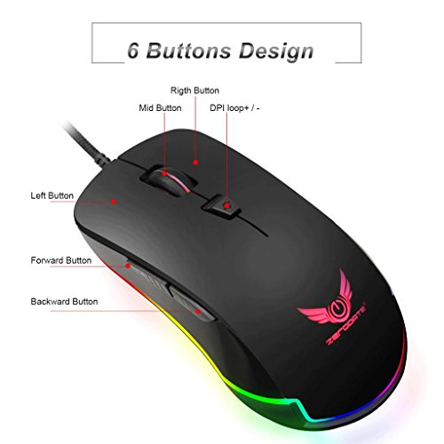 Baosity USB Gaming Mouse Color Changeable LED Light Ergonomic 6Buttons for Computer