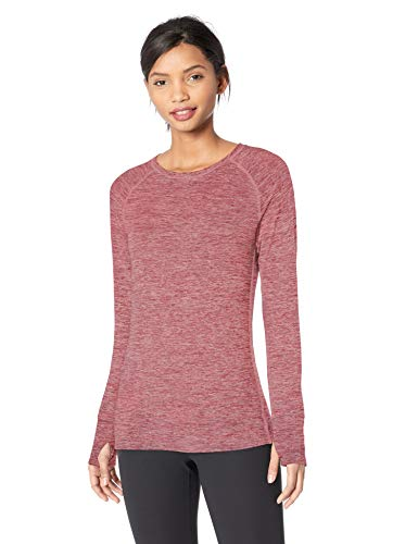 Amazon Essentials Women's Brushed Tech Stretch Long-Sleeve Crew, Wild Ginger Space dye, Small ()