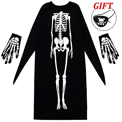 AkiWoo 3PCS Halloween Costume for Boys Girls Adult Scary Skeleton Robe Ghost Cape with Gloves Eyepatch Cosplay Party Dress up for $<!--$9.99-->