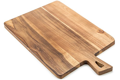 ROLICONE Acacia Wood Cutting Board with Handles (16.6 x 9.5 inch) | Large Wooden Chopping Board BPA Free, Wood Chopping Countertop Block for Food Prep Vegetables, Fruit, Meat