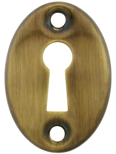 Brass Keyhole Cover (Stamped Brass Oval Keyhole Cover In Antique-By-Hand Finish)