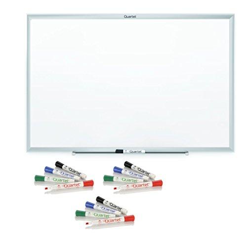 Quartet Dry Erase Board Value Pack, Whiteboard / White Board, Standard, 6' x 4', Aluminum Frame, Value Pack includes 12 Dry Erase Markers ()