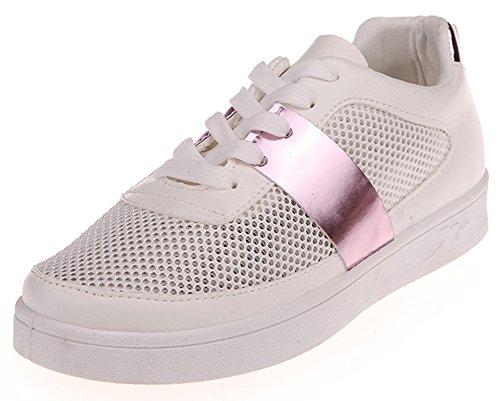 Idifu Damesmode Ronde Neus Lace Up Lage Top Mesh Schoenen Platte Skateboard Sneakers Roze