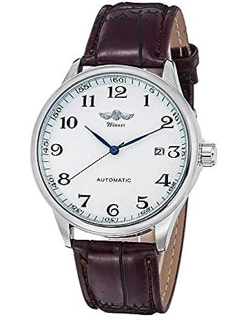 62bc4f172b35c Gute Classic WINNER Mechanical Watch white Dial Blue Hands PU Band  Self-wind Men-