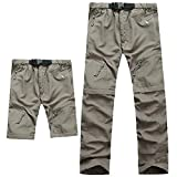 Evere Men Mountain Pants Convertible Lightweight Outdoor Sports Quick Dry Cargo Trousers for Hiking Fishing Camping,Khaki,Medium