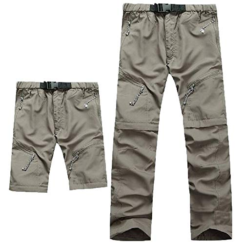 Evere Men Mountain Pants Convertible Lightweight Outdoor Sports Quick Dry Cargo Trousers for Hiking Fishing Camping,Khaki,X-Large