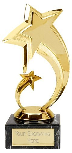 7 Shooting Gold Star Trophy Award Free Engraving Upto 30 Letters FG350Q By